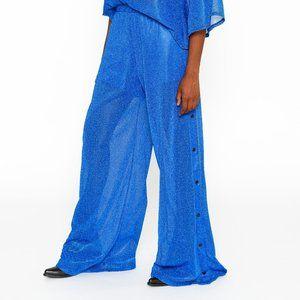 Wide Leg Tear Away Lurex Pants in Electric Blue